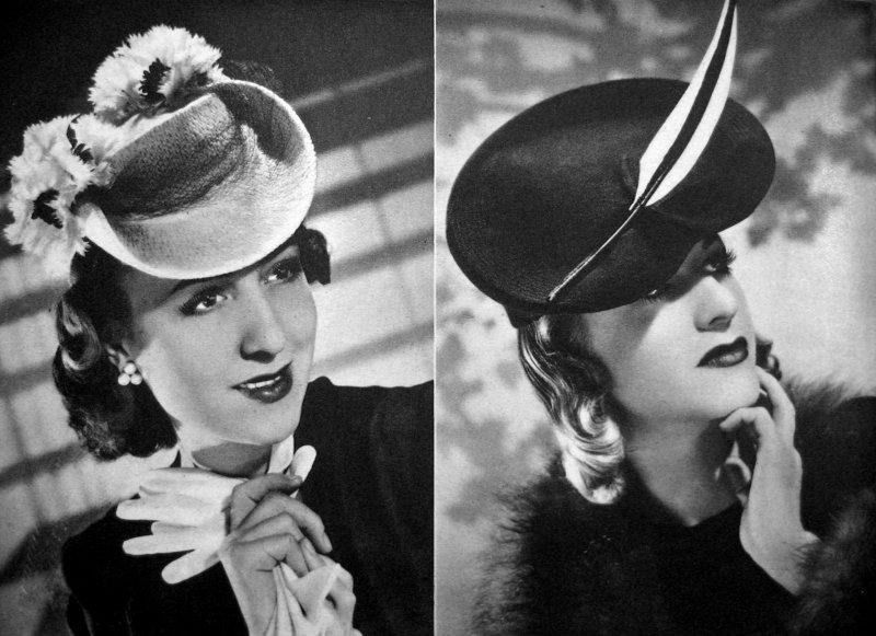 Výrazné ozdoby se na kloboucích nosily celou válku, časopis JAS 17. února 1939.  Foto: Archiv Miroslavy Burianové